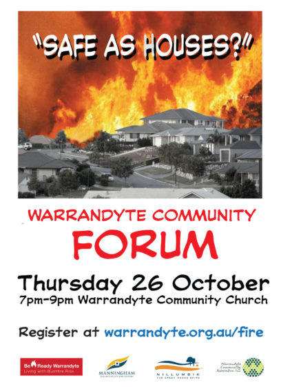Important Information from the 'Safe As Houses' Community Forum – 26 October 2017