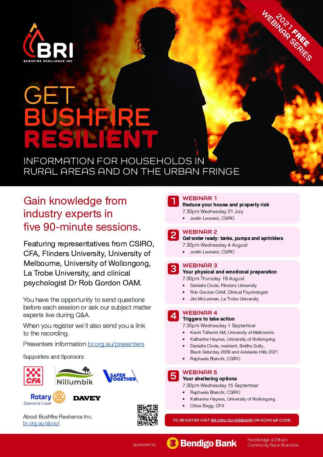 Bushfire Resilience Inc 2021 Webinar Series